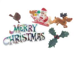 Décorations : Père Noël avec traîneau, houx, oiseau, inscription.
