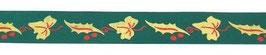 Ruban vert décoré houx et lierre