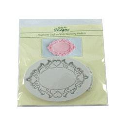 Moule plaque décorative ovale bordure coeur