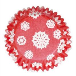 Caissettes rouges avec flocons de neige blancs.