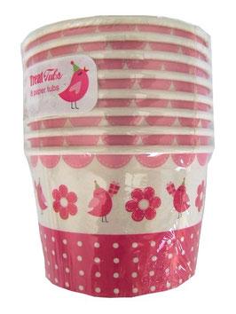 8 pots décorés petit oiseau girly