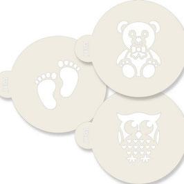 Pochoirs ours, pieds de bébé et chouette