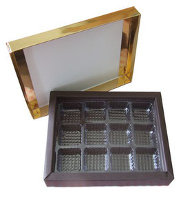 Boîte chocolat or/marron simple