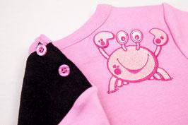 Bauchrutschpulli in schwarz/rosa