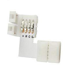 Connettore Angolare 4PIN 10mm per Strisce RGB  LED 12V e 24V DC - Conf. da 4 pezzi  FN00707