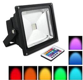 Faro Slim Led 50W RGB Cambiacolore- Linea Essential - Alluminio e Vetro  FN00605
