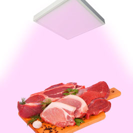 Plafoniera LED Rosa per Banco Carni 18W - Quadrata - per Macelleria e Alimentari per interni