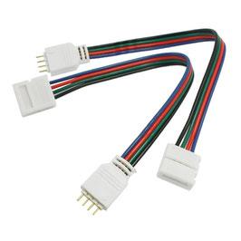 Connettore RGB 4PIN con cavo di 15cm - 12V e 24V DC - Conf. da 4 pezzi