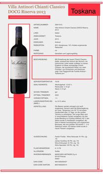 Villa Antinori Chianti Classico Riserva Toscana 2013-13,50% Vol. 0.375 l.