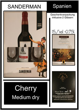 Cherry - Sanderman ,  in Geschenkspackung , rosso,,75l. , 15%vol, inklusive 2 Gläser