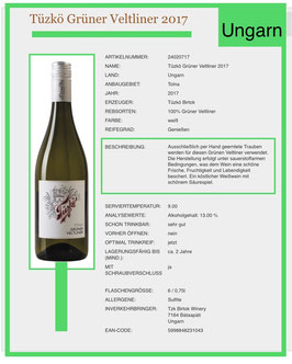Grüner Veltliner -Tüzko  Birtok mit Antinori 2017  Weißwein trocken-Ungarn