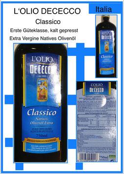 L'Olio Dececco Classico,Extra Vergine di Olivia 0.75l.Fl.