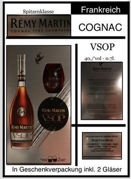 RE´MY MARTIN , VSOP ,  in Geschenkspackung , rosso,0,7l. , 40%vol, inklusive 2 Gläser