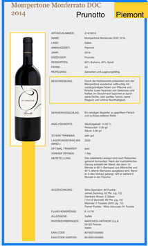 Mompertone Monferrato - Prunotto , Marchesi Antinori S.p.A. 14%vol , DOC 2015