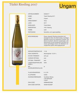 Riesling -Tüzko  Birtok mit Antinori 2018  Weißwein trocken-Ungarn