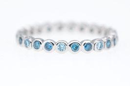 """Memory-Ring mit blauen (beh.) Brillanten aus Platin """"Memory-Collection mini"""""""