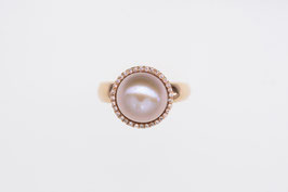 Perl-Ring aus 750'°°° Roségold mit Rosé-Perle und Brillanten (Classic-Deluxe-Collection)