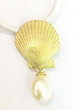 Muschel-Anhänger mit Perle in 750'*** Gelbgold