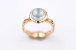 Mondstein-Ring aus Roségold mit grünlichem Mondstein und Brillanten Classic-Vintage-Collection