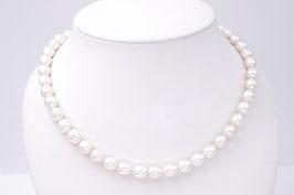 Perlkette-Kette weiße ovale Süßwasserzuchtperlen