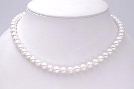Perlkette-Kette weiße runde Süßwasserzuchtperlen