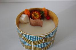 Bougie végétale fleurie - déco imprimé Wax - parfum ananas mangue coco