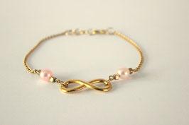 Bracelet Infinity perles de rose