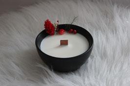 Bougie végétale fleurie bol noir, parfum caramel beurre salé ou bûche 3 chocolats