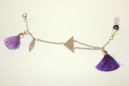 Bracelet argenté avec pompons