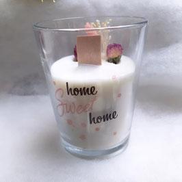 Bougie végétale fleurie - Home sweet Home