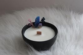 Bougie végétale fleurie bol noir, parfum pain d'épices