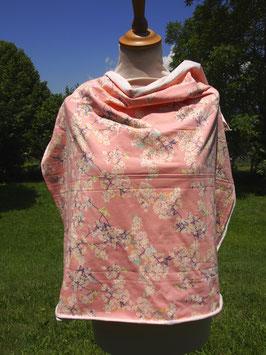 Joli fleurs japonisantes sur fond rose en jersey coton label Oeko Tex (modèle MC)