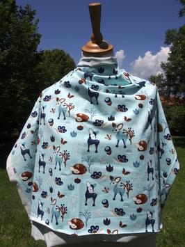 Animaux de la forêt tous mignons pour ce jersey bleu ciel coton label Oeko Tex (modèle MC)