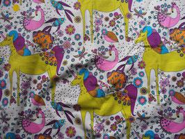 "Jersey ""licornes vert anis"" coton label Oeko Tex"