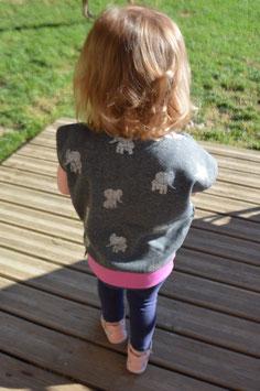 """Haut """"Sweat Ω Kids"""" taille 0-2 ans -éléphants argentés-"""
