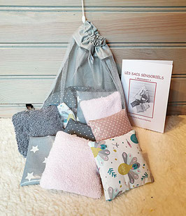 LOT de 12 SACS SENSORIELS + 1 SAC/FILET DE RANGEMENT GRIS/ROSE