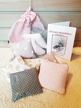 LOT de 12 SACS SENSORIELS + 1 SAC/FILET DE RANGEMENT ROSE/GRIS