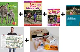 Paket: Entdecke die Esel + Esel-Kind MAGAZIN + Hörbuch Esel-Kind MAGAZIN + Der Esel in tiergestützten Interventionen + PAMARE + großes Esel-Gesellschaftsspiel