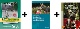 Bücherpaket: Esel Erziehung + Der Esel in tiergestützten Interventionen + Wandern mit Packeseln