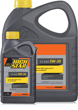 HIGH STAR C4 SAE 5W-30 (Set 1L & 5L)