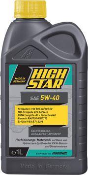 HIGH STAR SAE 5W-40 (1L Kart)