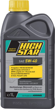HighStar SAE 5W-40 (1L Kart)