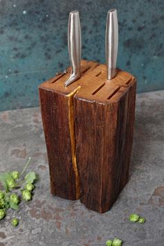 Messerblock aus einem altem Eichen-Fachwerk-Holz & Blattgold