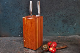 Messerblock aus alter Pitchpine-Bodendielen-Holz