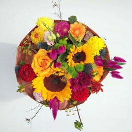 Bunte Sommerblumen und Sonnenblumen