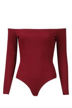 Off shoulder body bordeaux rood