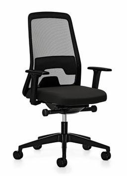 Bureaustoel Interstuhl Every, zwart met synchroontechniek