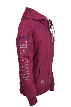 "RANCHGIRLS  ""BUTTON UP"" HOODED SWEAT JACKET ""HANNAH"" raspberry"