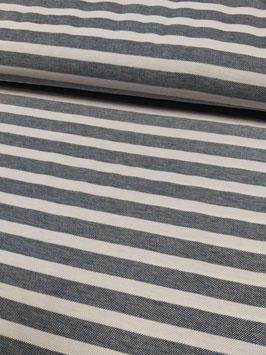 Baumwoll-Pique graumeliert und weiß gestreift, Grundpreis: 17,90€/m
