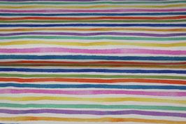 Jersey weiß mit bunten unregelmäßige Streifen , Grundpreis: 18,90€/m